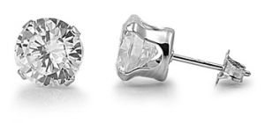 14K White Gold GB Silver Brilliant Cut Simulated Diamond 2.50ct Stud Earrings