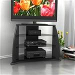 21bOCxf3TeL Sonax FP 3000 Florence 34 Inch Midnight Black TV Stand with Glass Shelves