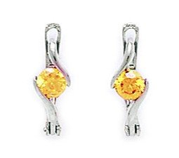 14ct White Gold November Birthstone Yellow3mm Round CZ Leverback Earrings - Measures 12x3mm