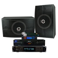 RSQ Professional Player, 600 Watt Mixing Amp, 10 Speaker and 2-Channel Wireless Microphone System