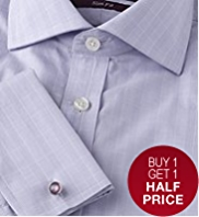 2in Longer Sartorial Slim Fit Pure Cotton Prince of Wales Checked Shirt