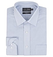 Cotton Rich Slim Fit Easy to Iron Bengal Striped Oxford Shirt