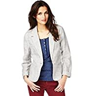 Indigo Collection Linen Blend Ticking Striped Jacket