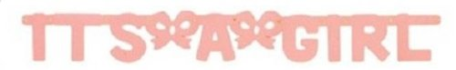 Baby Shower Party Supplies Favors It's A Girl Hinged Pastel Pink Banner 37in - 1