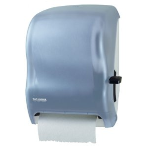 "San Jamar T1200 Classic Savvy Lever Roll Towel Dispenser with Auto Transfer, Fits 8"" Wide and 8"" Diameter Roll, 12-15/16"" Width x 16-1/2"" Height x 9-1/4"" Depth, Arctic Blue"