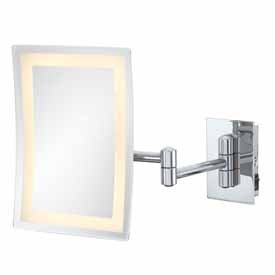 Kimball & Young 90973Hw Single-Sided Led Rectangular Wall Mirror With Brushed Nickel Frame, 6.25 By 8.75-Inch