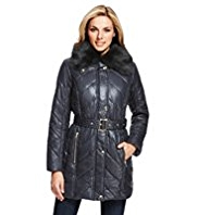 M&S Collection Faux Fur Collar Padded Coat with Stormwear™