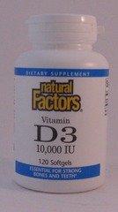 Vitamin D3 10,000 Iu Natural Factors 120 Softgel
