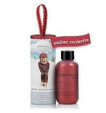Philosophy Peppermint Bark Shampoo, Shower Gel & Bubble Bath 2 oz. with ornament packaging