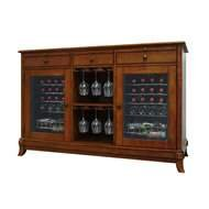 Vinotemp Cocktail Storing Accessories Cava 36-Bottle Dual-Zone Thermoelectric Wine Credenza Rich Maple Finish