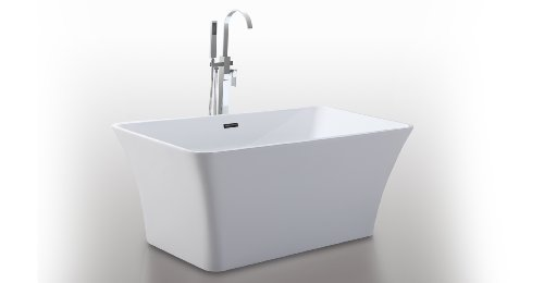"Lowest Price! HelixBath Parva Freestanding Acrylic Bathtub 59"" White w/ Rectangle Overflow"