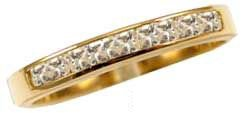 14k Yellow Gold, Lady's Anniversary Wedding Promise Band Ring Lab Created Gems