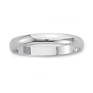 Men's 18k White Gold Domed Comfort-Fit Wedding Band (3.00 mm)
