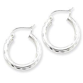 Genuine IceCarats Designer Jewelry Gift Sterling Silver Rhodium-Plated 3.00Mm Diamond-Cut Hoop Earrings