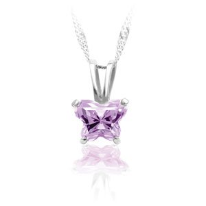 Clevereve Designer Series 14K White Gold Youth Butterfly June Birthstone Cz Pendant 8.80 X 5.60Mm
