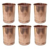 AsiaCraft Pure Copper Handmade Glasses Tumblers, Set Of 6