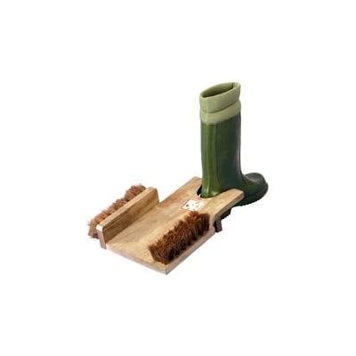 Wooden Boot Jack and Scraper Brush