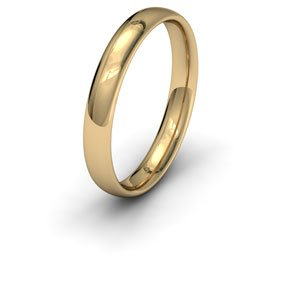 9ct Yellow Gold, 3mm Wide, Court Shape Wedding Ring