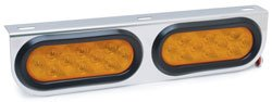 "Roadpro Rp4066Led 16-1/2"" X 4"" Posi-View Stainless Steel Led Light Bar Assembly With 2 Amber Lights"