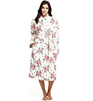 Supersoft Shawl Collar Spotted & Floral Dressing Gown
