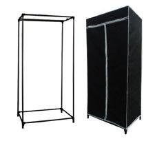 New Black Single Canvas Wardrobe - Clothes Hanging Rail - Ideal for Bedroom, Extra Storage, Students