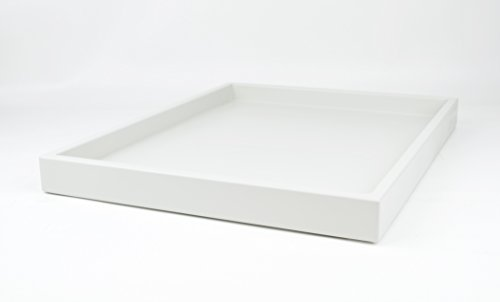 Decorative Tray White Matte Lacquer 18 in. by 14 in. Shallow Low-profile Tray