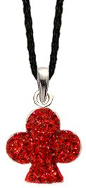 Silver Clubs crystal Pendant with black silk cord necklace - Siam Red bling bling!! - the necklace is adjustable size 16