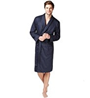 Pure Cotton Spotted Dressing Gown