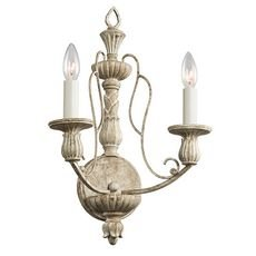 Kichler Lighting 43263DAW Hayman Bay 2-Light Wall Sconce, Distressed Antique White Finish