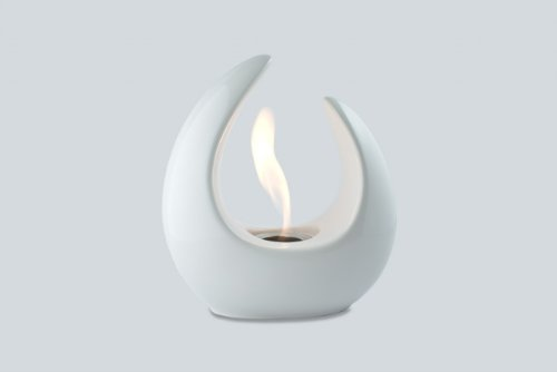 Ventless Ethanol Fireplace - Mika White, Tabletop Ethanol Fireplace by Ignis