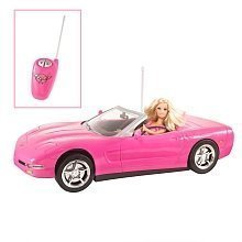 Barbie pink corvette convertible car doll set toysrus for Motorized barbie convertible car