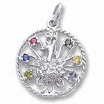 Rembrandt Charms Peacock Charm - Sterling Silver