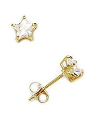 14k Yellow Gold 4x4mm Star CZ Basket Set Earrings - JewelryWeb