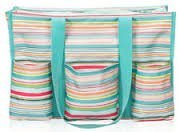 Thirty-One Zip-Top Organizing Utility Tote In Sunny Stripe