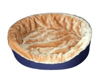 Dog Bed King Cuddler American Made XL-Extra Large Navy/Tan Fur. Outside Dim. 42x32x7