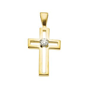 Genuine IceCarats Designer Jewelry Gift 14K Yellow Gold Cross Pendant W/Diamond. 13.50X09.50 Mm Cross Pendant W/Diamond In 14K Yellow Gold