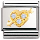 Composable Classic LOVE in stainless steel , 18k gold and Cubic zirconia (SKY BLUE pierced heart)