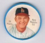 1962 Salada Tea Coins (Baseball) Card# 34 Ken Hamlin (White Buttons) Of The Los Angeles Angels Ex Condition