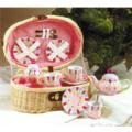 Pink Daisy Tea Set in a Basket