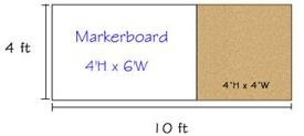 Combination Porcelain Steel Marker and Bulletin Boards-type E reverse EL 4' x 10' (Tack-Le' 4' x 4', Marker-Cent Right 4' x 6')