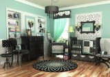 DK Leigh Crib Nursery Bedding Set, Turquoise/Black/White, 10 Piece - 1