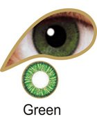 Coloured Contact Lenses with Free Solution and Case - Green (3 Months)