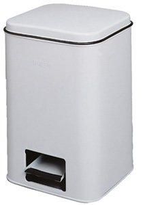 Grafco 18 Qt. Enamel Square Step-On Waste Receptacle, Almond, Each