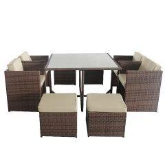 """Muebles de ratán """"Miami"""" II en marrón 115 x 115 x 72 cm"""