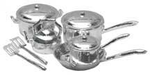 Dollhouse Miniature 10-Pc. Chrome Cookware Set