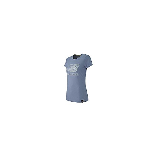 New Balance Women's Essentials Plus Short Sleeve Logo Tee, Mirage Heather, X-Small