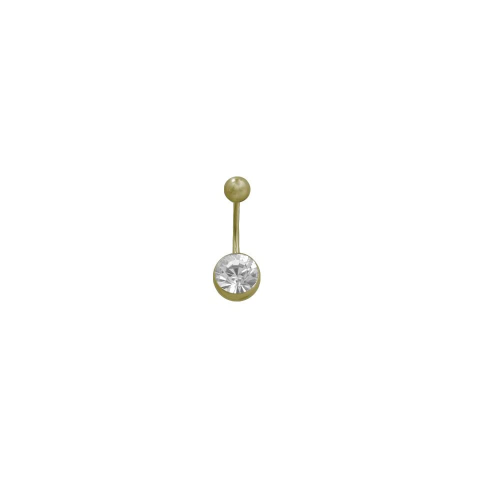 Gold Color Titanium Belly Button Ring with Clear Jewel
