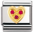 Composable Classic LOVE in stainless steel , 18k gold and Cubic zirconia (RED heart)