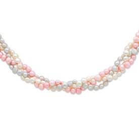 Sterling Silver 6-7mm White/Pink/Silver FW Cultured Pearl w/2in ext. Necklace