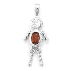 January Birthstone Boy Pendant. Rhodium Plated Dark Red CZ. Charm - JewelryWeb